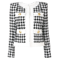 HIGH QUALITY Newest 2019 Autumn Winter Baroque Designer Jacket Women's Color Block Zip Houndstooth Fringed Tweed Jacket OverCoat