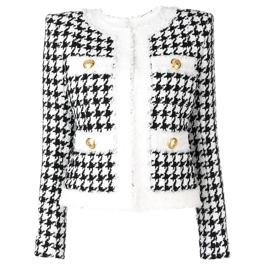 HIGH QUALITY Newest 2020 Autumn Winter Baroque Designer Jacket Women's Color Block Zip Houndstooth Fringed Tweed Jacket OverCoat