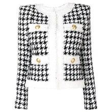 HIGH QUALITY Newest 2020 Autumn Winter Baroque Designer Jacket Women's Color Block Zip Houndstooth F