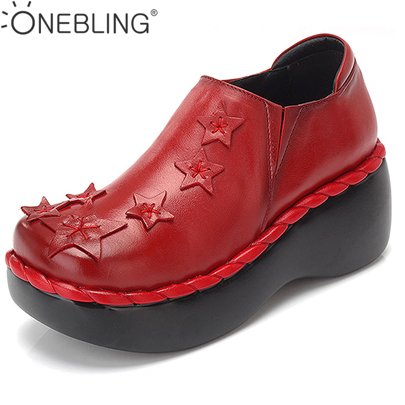 ONEBLING Autumn Women Shoes 2017 Fashion Genuine Leather Thick High Heel Shoes Star Decoration Platform Wedges Shoes Women Pumps genuine leather shoes fashion2017 new autumn women wedges shoes high heel platforms for women casual shoes pumps elevator women