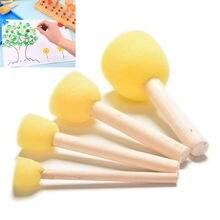 Paint-Brush Sponge DIY Art Wood Yellow Doodle-Toys 4PCS Wooden-Handle Graffiti Kids Children's