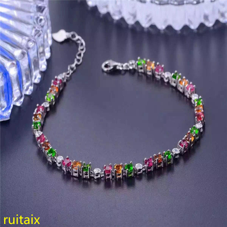 KJJEAXCMY fine jewelry S925 pure silver hand chain natural tourmaline sugar stone women's bracelet wholesale jewelry. lanzyo natural tourmaline bracelets fine jewellery fashion hand string 4mm candy bracelet wholesale sc002