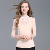 2016 New Arrivals Spring Fashionable Lace Blouse Shirt Female Long Sleeved Stand Collar Korean Style Slim