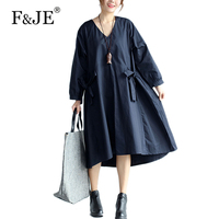 F JE 2017 Autumn New Art Style Women Loose Casual Long Dress V Neck Long Sleeve