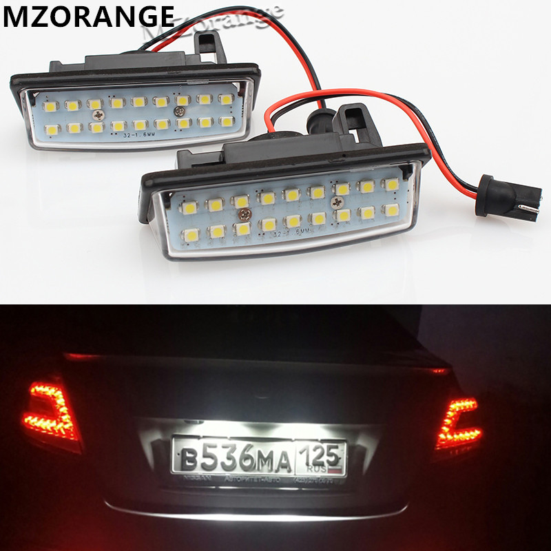 Fit for Nissan TEANA J31 J32 Maxima Cefiro Altima Rogue Sentra 2x Error Free 18 3528 SMD LED License Number Plate Lamp Car Light
