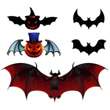 12pcs/set 3D Bats Wall Stickers DIY Reusable Self-Adhesive Art Decals Home Decoration for Halloween 3d