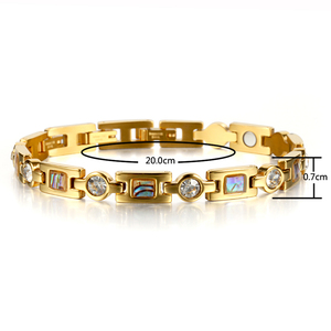 Image 2 - Rainso Bio Energy Bracelet with 3 Smart Buckles Magnet Bracelet Health Care Elements Gold Bracelets For Women Girlfriend Gift