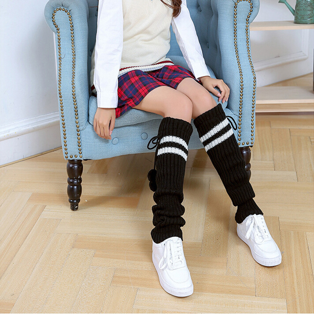 Women Stripe Stocking Thick Wool Knitted Heap Over Knee Thigh High Stockings Womens Acrylic