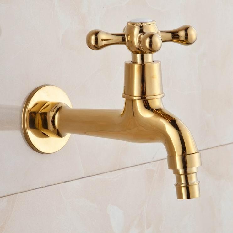 Free Shipping Long Gold Plate Bathroom Washing Machine Tap Cold Water Bibcock bathroom faucet taps Golden finish Garden Faucet