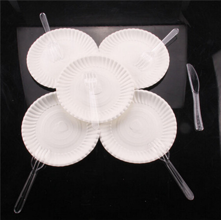 11pcs/set Disposable Ice Cream Pudding Dessert Cake Round Paper Dish & PP fork ,knife Tableware 4N1256