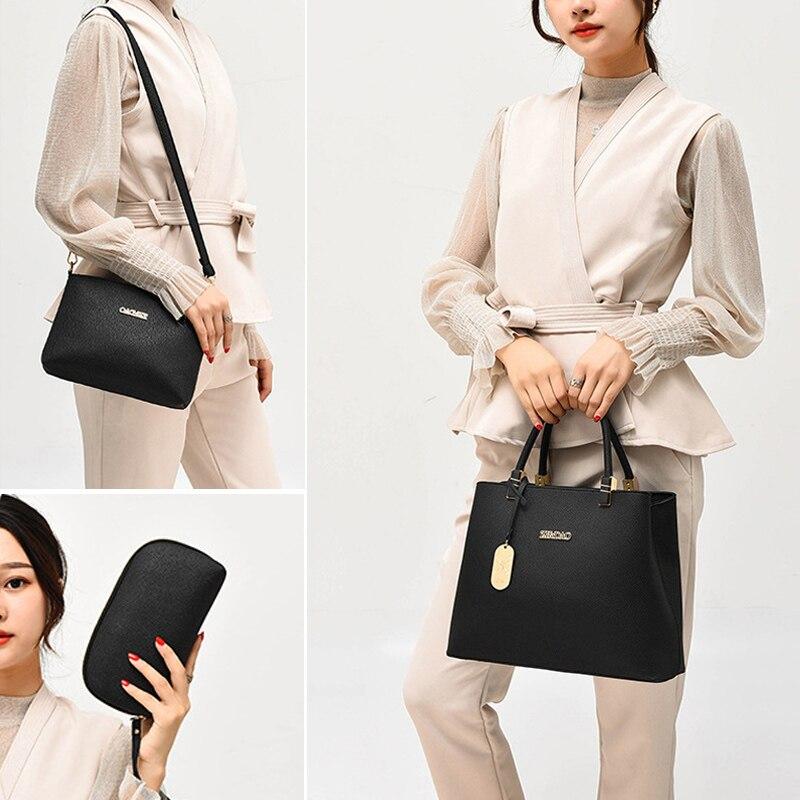 3 PCS Women Leather Handbags Composite Bag Large Shoulder Bag Female Messenger Bag Purse Office Ladies Tote Bags For Women 2018 6