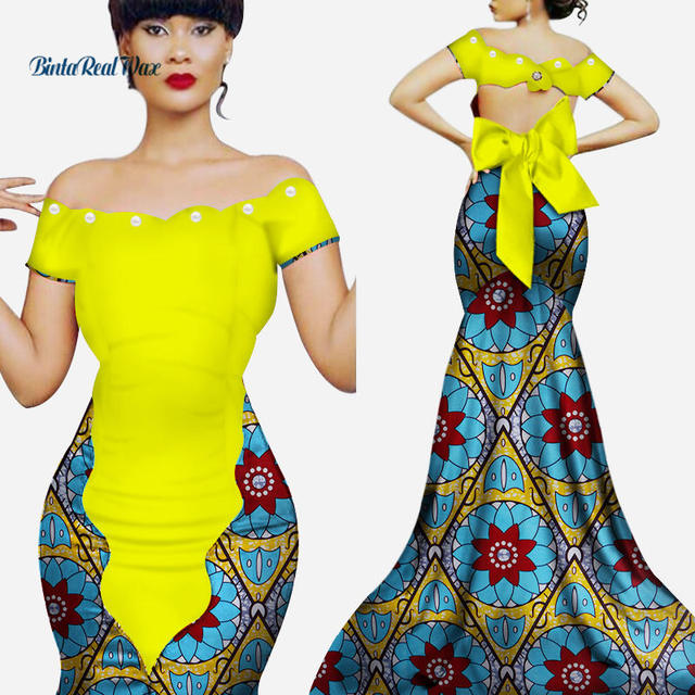 55648c81069 New African Dresses for Women Vestidos Custom Bazin Riche Print Pearl Knot  Long Dress Women African Style Clothing Party WY3356