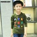 Pioneer infantil chicos ropa de otoño espesar camiseta de algodón superior niños camiseta de la historieta de superhéroes tee ropa de fall out boy t camisa