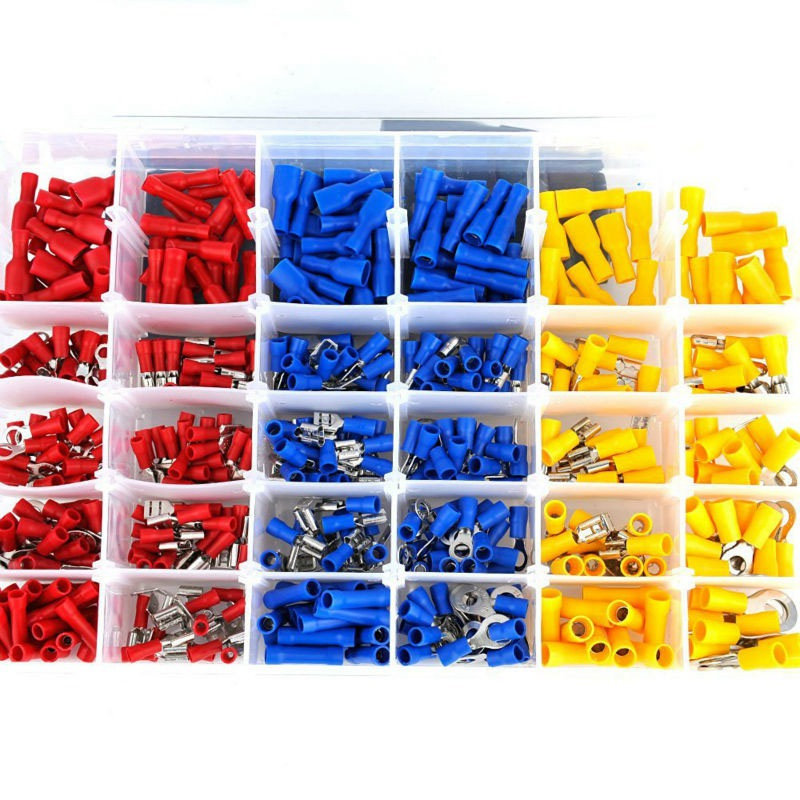 Mayitr 480pcs/set Colorful Terminals Connector Spade Set Assorted Insulated Electrical Wire Crimp Terminal Connector Kit 1200 pcs mixed assorted lug kit insulated electrical wire connector crimp terminal spade ring set clh