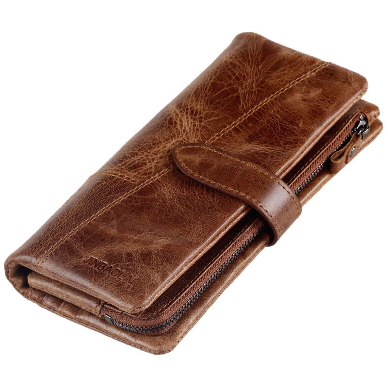 Guarantee Genuine Leather Mens Wallets Long Men Clutch bag Wallet Coffee Brown Natural Cow Leather Business Card Hold Purse New