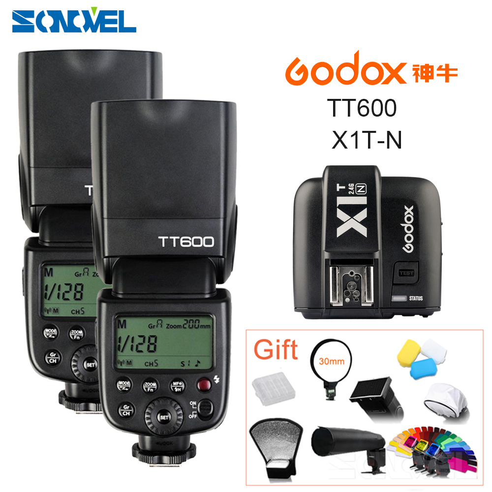 2x Godox TT600 2 4G Wireless GN60 Master Slave Camera Flash Speedlite X1T N Transmitter for