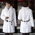Women Faux Fur Coat invierno para mujer negro estilo largo grueso del otoño y del invierno Wide Waisted manga larga 2 colores S-XL 31