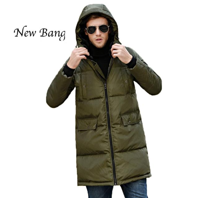 2016 Estilo Europeu Homens Longo Inverno Para Baixo Casaco Com Capuz de Lã Grossa Casacos Quentes À Prova de Vento E À Prova D' Água Plus Size Outwear