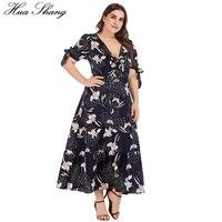 Women Dress Plus Size 2019 Summer V Neck Bow Tie Short Sleeve Floral Print Bohemian Beach Dress Tunic Ladies Maxi Long Dresses