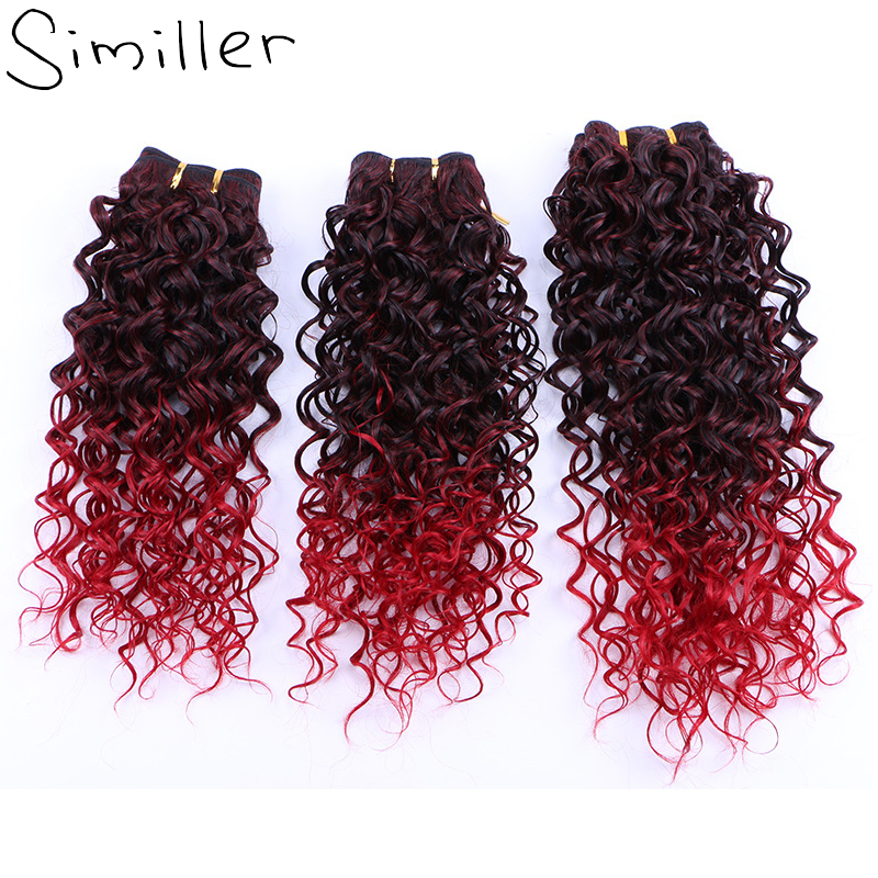 Similler 3 Bundles Kinky Curly High Temperature Fiber Double Weft Synthetic Hair Weaving Extensions 18 Inch Ombre Black t Red
