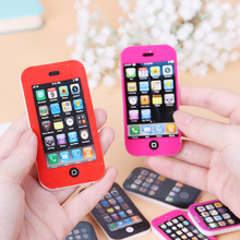 Creative Fashion Mobile Phone Shape Pencil Eraser Cartoon Cute School Supplies Erasers Kids Stationery Rubber 1pcs