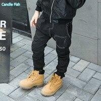 2017 winter new boy plus cashmere casual pants Korean fashionable design models Slim zipper pants