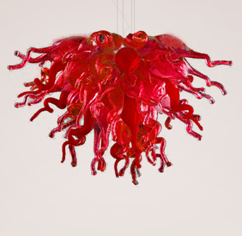 Free Shipping Artistic Red Stained Mini Borosilicate Glass Modern Ceiling Light