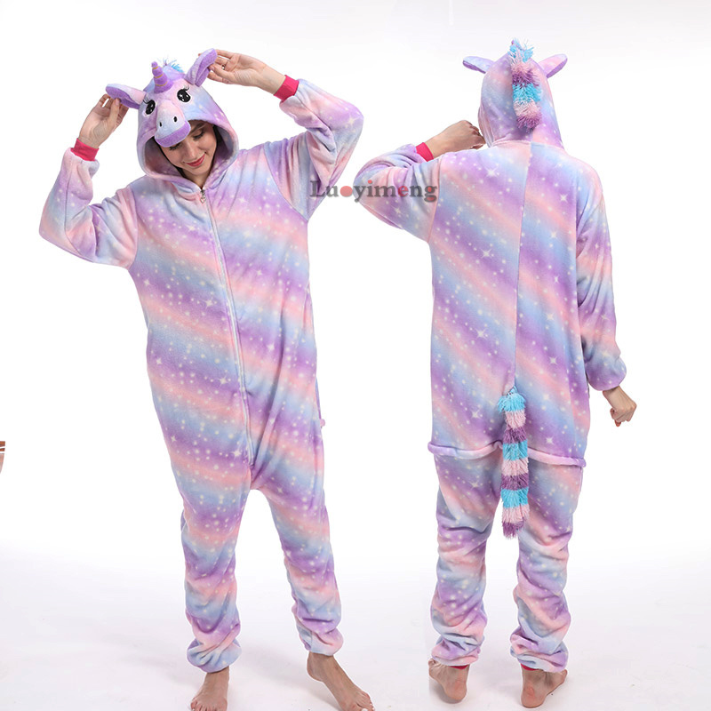 2019 Winter Animal Kugurumi Women Pajamas Onesies Unisex Hooded Sleepwear Flannel Women's Sleep Lounge Pijama Unicornio Homewear