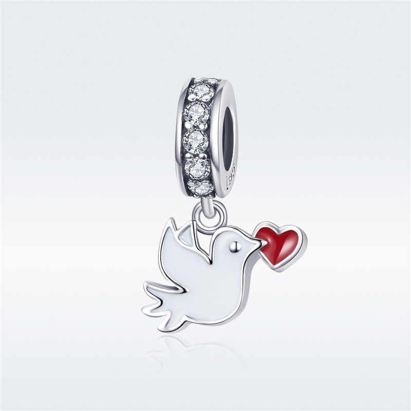 Phù hợp với Vòng Tay Pandora Bạc 925 Nguyên Bản CZ Chim Người Cá Ngôi Sao Hạt Cỏ Ba Lá Kiss Kẹp Hoa Hồng Trái Tim cho Trang Sức làm cho