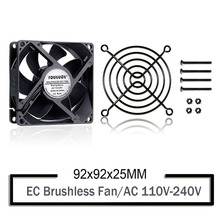 YOUNUON Sleeve 92mm 9225 EC Brushless Fan AC 110V 115V 120V 220V 240V Axial Fan 92mm x 92mm x 25mm Comes with Srews/Grill цена и фото