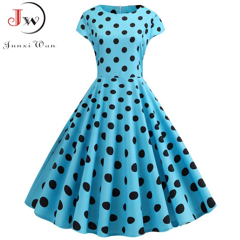 Summer Short Sleeve Polka Dot Dress Women Elegant Work Office Casual Print A-Line Vintage Dress Big Swing Rockabilly Vestidos 1