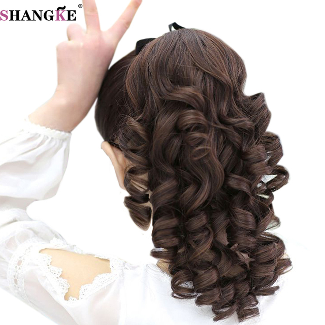 SHANGKE Short Curly Ponytails Clip In Fake Hair Extensions Natual Clip In Hair Tails Heat Resistant Synthetic Ponytail 1