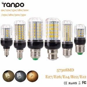 Image 1 - E27 E14 220V LED Lamp 5730 SMD LED Corn Bulb Lampada Ampoule Lighting 24 27 30 36 59 69 72 Leds Lamp Bombillas Light Bulbs