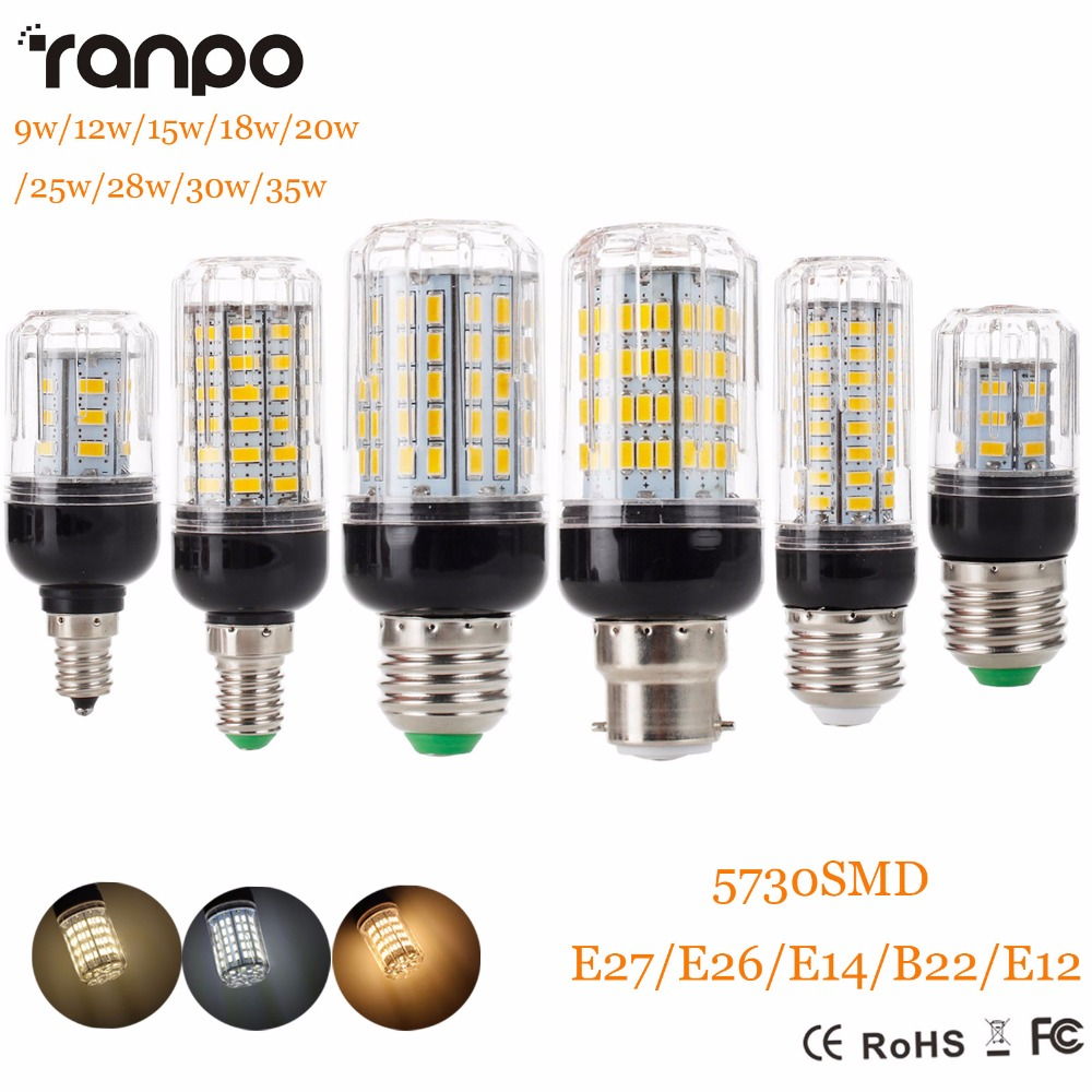 E27 E14 220V LED Lamp 5730 SMD LED Corn Bulb Lampada Ampoule Lighting 24 27 30 36 59 69 72 Leds Lamp Bombillas Light Bulbs