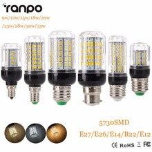 E27 e14 220 v lâmpada led 5730 smd led milho lâmpada lampada ampola iluminação 24 27 30 36 59 69 72 leds lâmpada bombillas lâmpadas