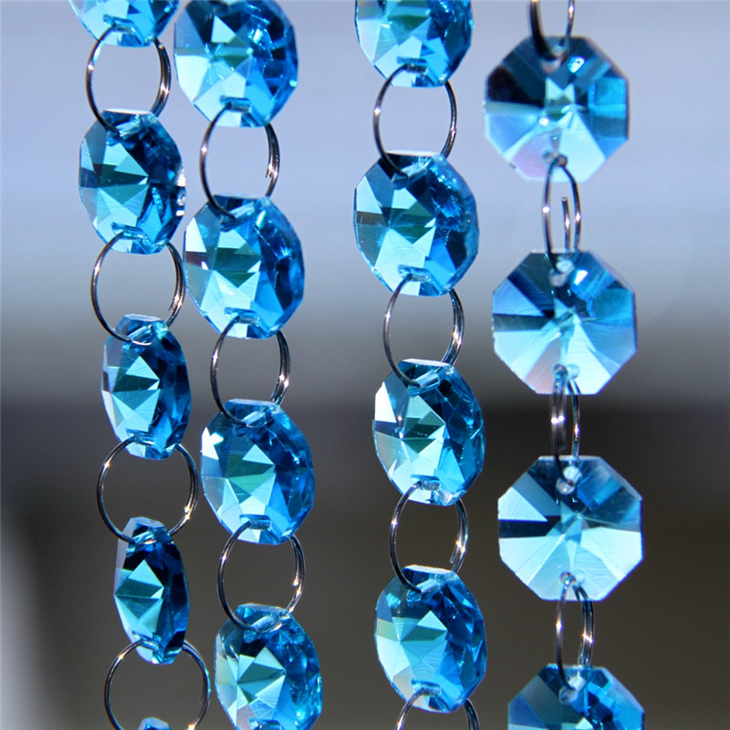 10m/Lot 14mm Glass Octagon Beads Aquamarine Color Crystal Glass Garland Strand Wedding & Christmas Party Event Decoration