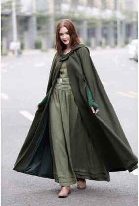 新到着女性フード付きマントフード付きコスプレマント 3 色中世衣装大人の衣装ドレスアップ 115 -118