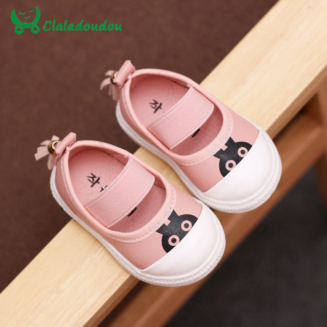 Baby Shoes For Toddler Girl 11.8-13.8CM Insole Baby Girl Casual Shoes Size 4-6.5 White Black Pink Sneakers Girls Pattern Rabbit