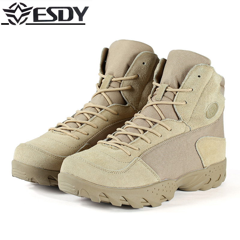 Outdoor Men Training Combat Desert Tactical Military Boots Anti-punched Ankle Boots Male Mountain Hiking Non-slip Leather shoes men s outdoor hunting hiking mountain non slip lace up mesh breathable ankle high boots tactical army desert sport shoes boot