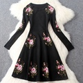 Long sleeve spring dress 2016 NEW High quality Women Clothing Knitting flower Dress XXL winter Sweater Embroidery Party dresses