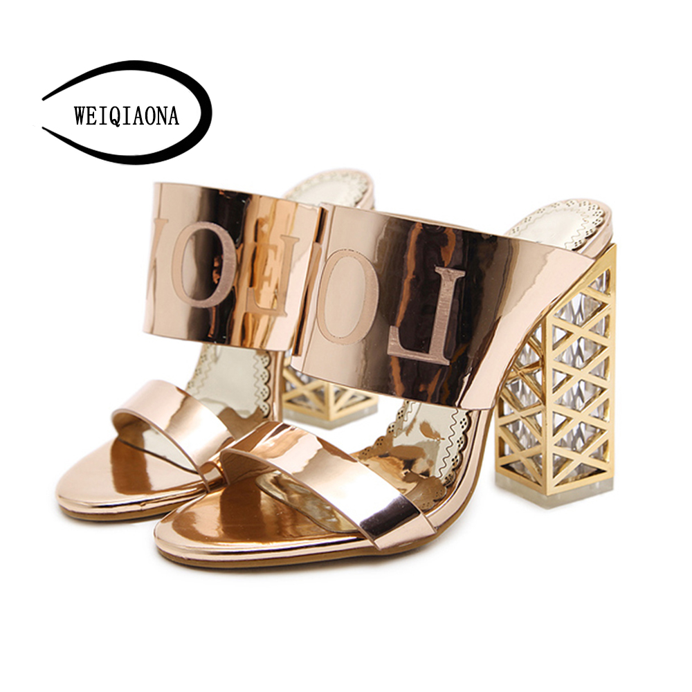WEIQIAONA 2018 New Women Shoes Summer Patent Leather Sandals Fashion  Rhinestones Ladies Sexy Peep Toe Chunky Heels Flip Flops-in High Heels from  Shoes on ... c95d941b2d53