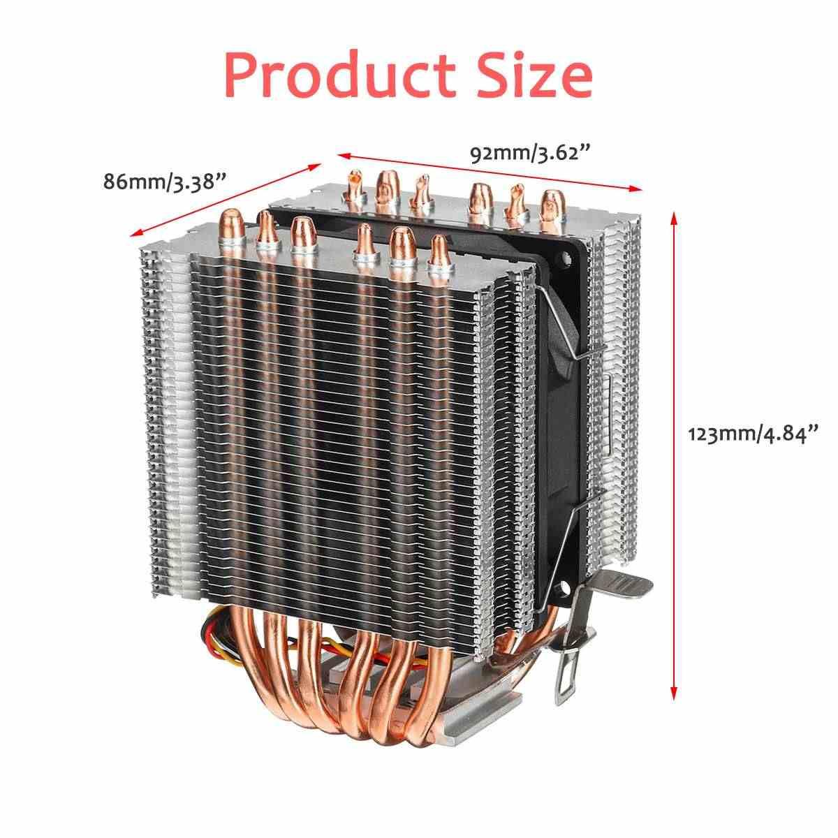 6 ısı borusu 3 Pin tek Fan cpu soğutucu Fan soğutma radyatörü çift kule soğutucu isı emici Fan Intel LGA 1150 için/ 1151/1155 AMD