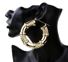 Punk Gold Tone Bamboo Hoop Hiphop Earrings Large Circle Basketball wives Earrings Fashion Jewelry for Girl ER008