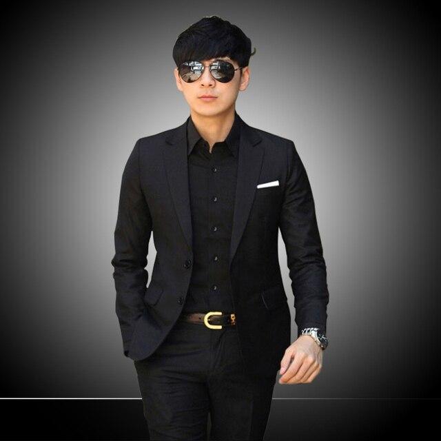 2015 New Fashion cheap black men's suit Casual Slim Fit