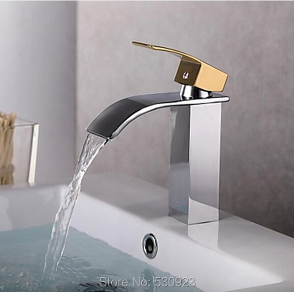 Newly Chrome Finished Solid Brass Arc-shape Waterfall Spout Bathroom Basin Sink Faucet Mixer Tap Golden Handle Deck Mounted newly contemporary solid brass chrome finish arc spout kitchen vessel sink faucet thermostatic faucet mixer tap deck mounted