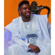 Suit African Men Robe Dashiki White Agbada Pant Shirt with Rhinestones Men's Formal Attire