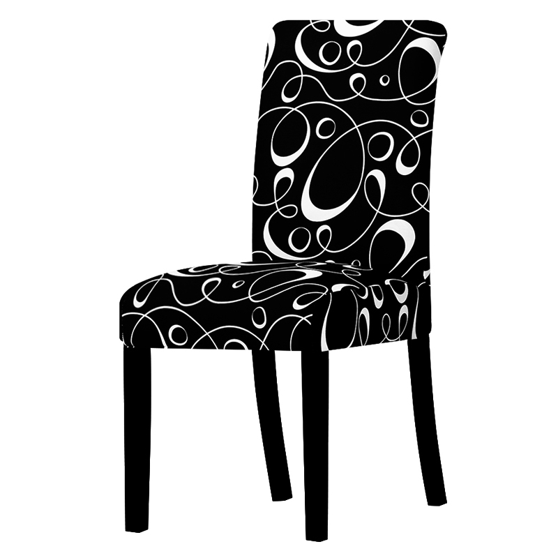 Black And White Dining Chair: Black And White Line Chair Cover Stretch Removable Dining