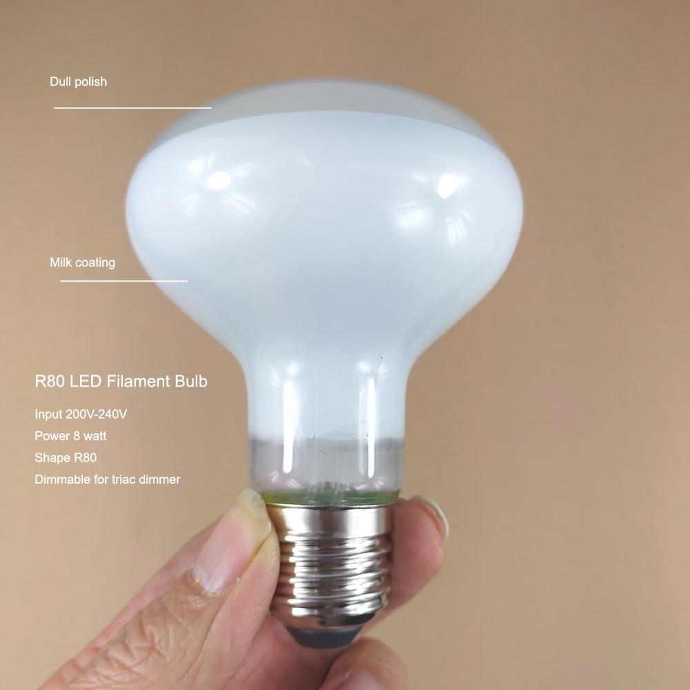 Dull Polish Glass Energy Saving 2700K R80 LED Filament Spot Bulb Dimmable, Real 8 Watt E27 Focus Reflector Bulb