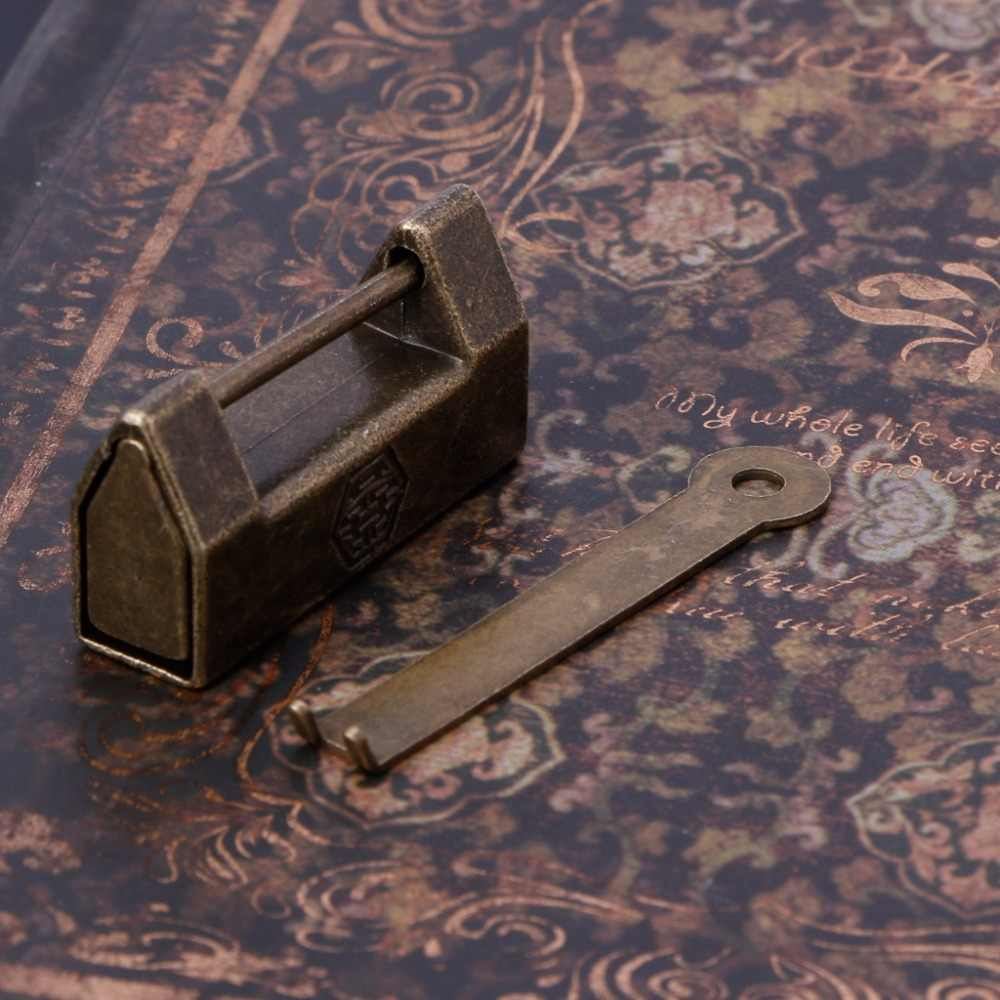OOTDTY ヴィンテージのウェディング真鍮南京錠キージュエリーボックス伝統的な中国ロック