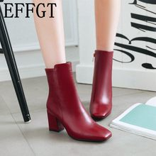 fe748e45c EFFGT mujeres lado cremallera martin botas cómodas mediados talón tobillo  botas de moda Zapatos de invierno negro rojo blanco bo.